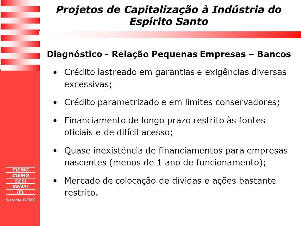 Projetos de Capitalização à Indústria do Espírito Santo Tese 5: Problemas decorrem da estrutura oligopolizada do setor bancário privado; DIAGNÓSTICO Número BancosAtivos Totais Depósitos Totais Crédito Total 10 MaioresBCB74,58%79,65%74,58% FMI70,30%76,6%70,2% 20 MaioresBCB88,22%90,69%87,69% FMI------ Tese 6: Problemas decorrem da fragilidade e do pouco desenvolvimento dos instrumentos alternativos de capitalização das pequenas empresas (cooperativas, SCMs, fundos de garantia, etc.).