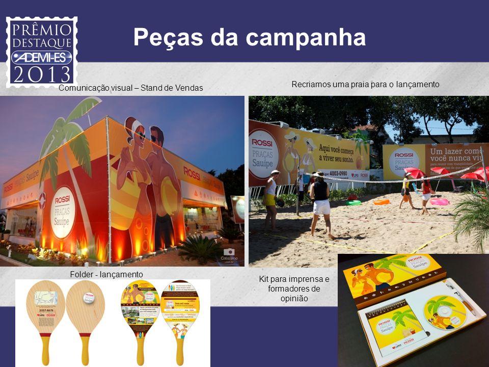 Comunicação visual – Stand de Vendas Peças da campanha Recriamos uma praia para o lançamento Folder - lançamento Kit para imprensa e formadores de opi