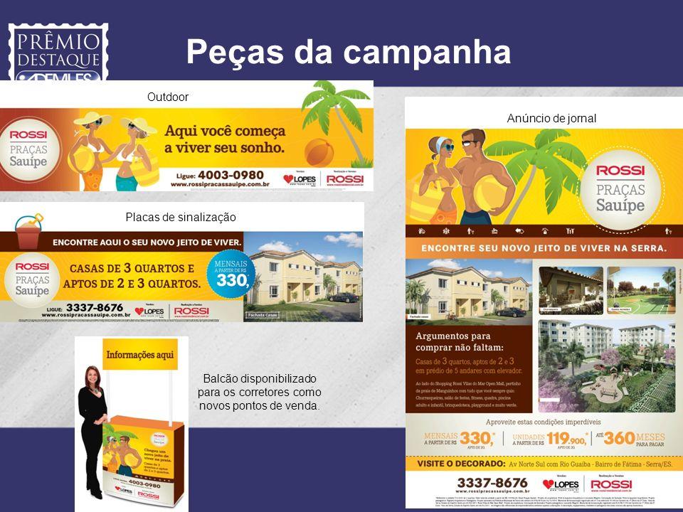 Peças da campanha Outdoor Placas de sinalização Anúncio de jornal Balcão disponibilizado para os corretores como novos pontos de venda.