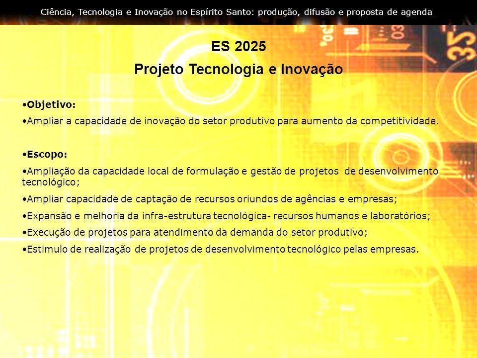 Ciência, Tecnologia e Inovação no Espírito Santo: produção, difusão e proposta de agenda ES 2025 Projeto Tecnologia e Inovação Objetivo: Ampliar a cap