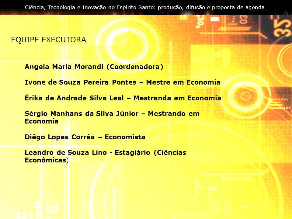 EQUIPE EXECUTORA Angela Maria Morandi (Coordenadora) Ivone de Souza Pereira Pontes – Mestre em Economia Érika de Andrade Silva Leal – Mestranda em Eco