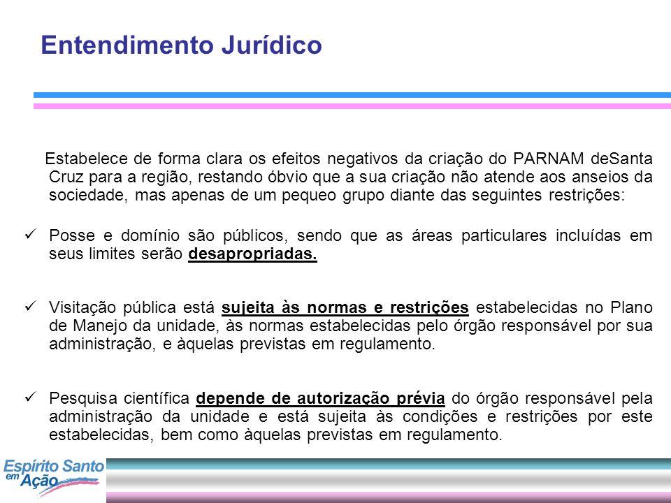 Entendimento Jurídico Estabelece de forma clara os efeitos negativos da criação do PARNAM deSanta Cruz para a região, restando óbvio que a sua criação
