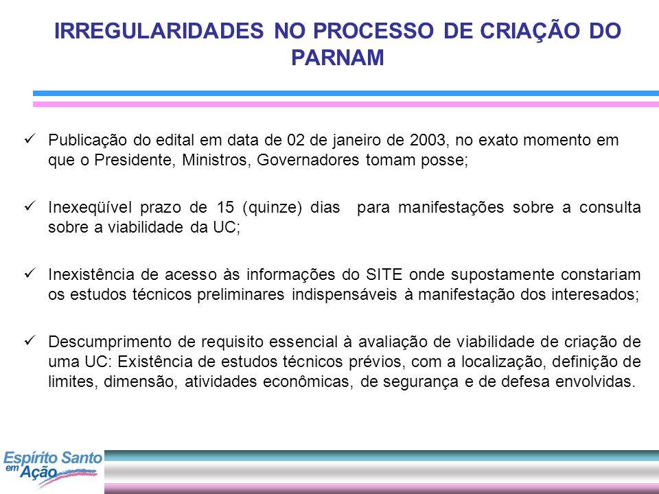IRREGULARIDADES NO PROCESSO DE CRIAÇÃO DO PARNAM Publicação do edital em data de 02 de janeiro de 2003, no exato momento em que o Presidente, Ministro