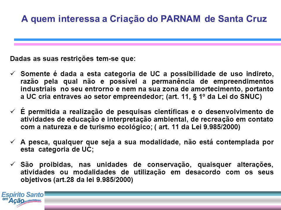 A quem interessa a Criação do PARNAM de Santa Cruz Dadas as suas restrições tem-se que: Somente é dada a esta categoria de UC a possibilidade de uso i