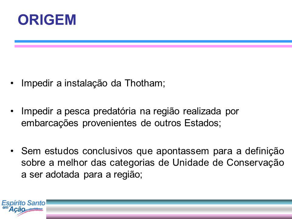 ORIGEM Impedir a instalação da Thotham; Impedir a pesca predatória na região realizada por embarcações provenientes de outros Estados; Sem estudos con