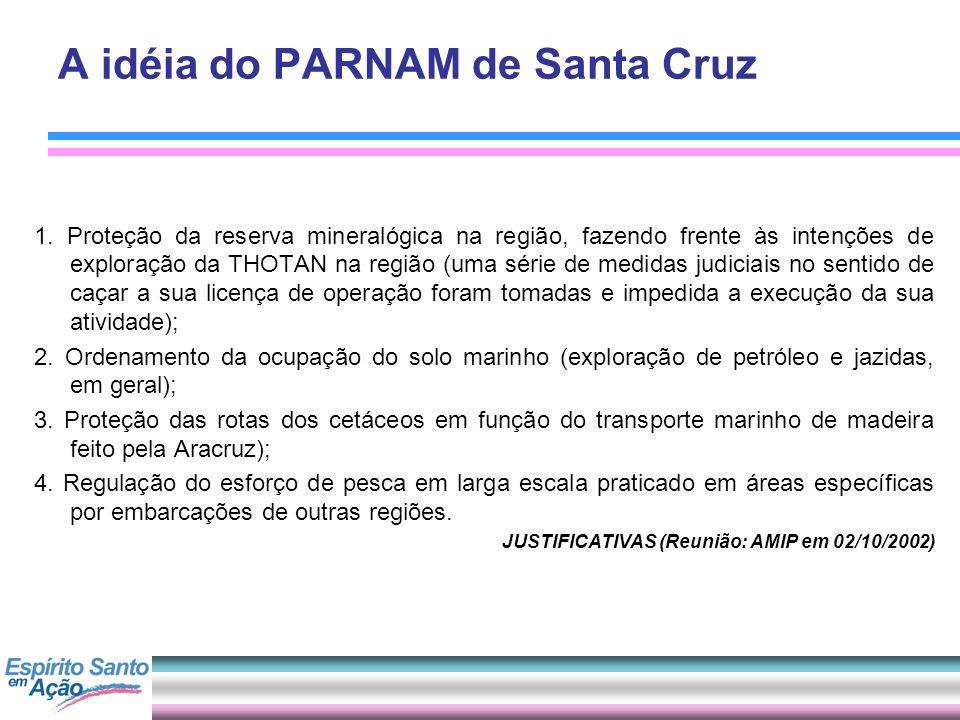 A idéia do PARNAM de Santa Cruz 1. Proteção da reserva mineralógica na região, fazendo frente às intenções de exploração da THOTAN na região (uma séri
