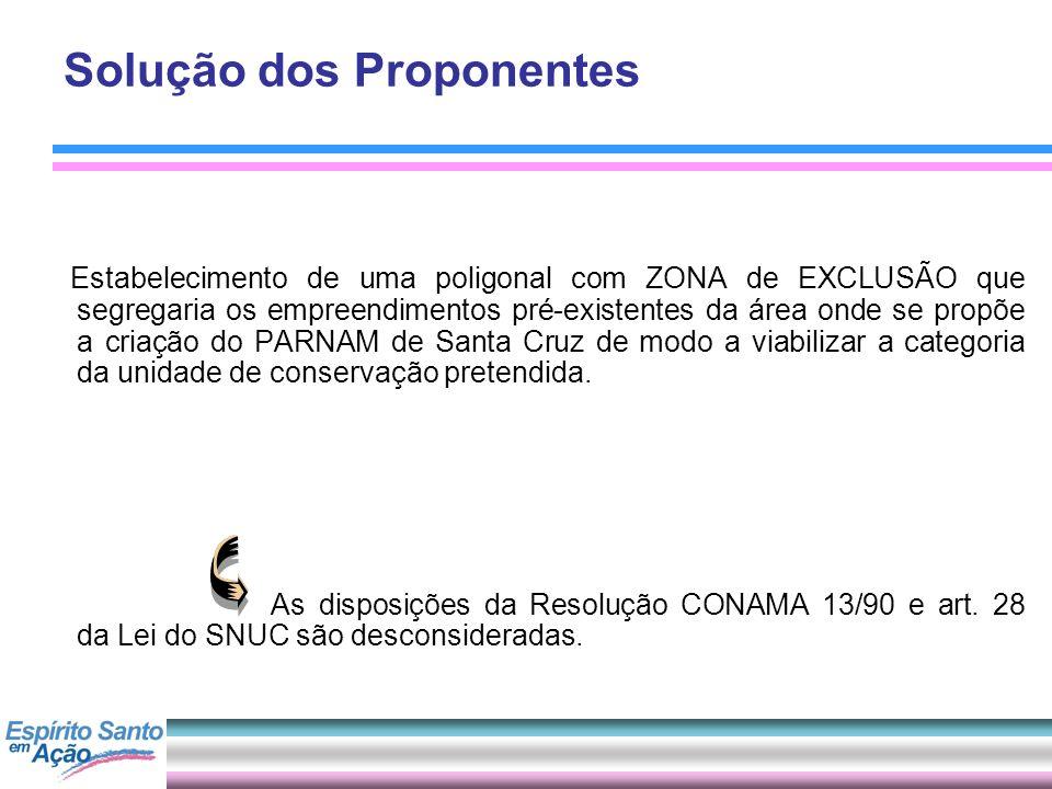 Solução dos Proponentes Estabelecimento de uma poligonal com ZONA de EXCLUSÃO que segregaria os empreendimentos pré-existentes da área onde se propõe