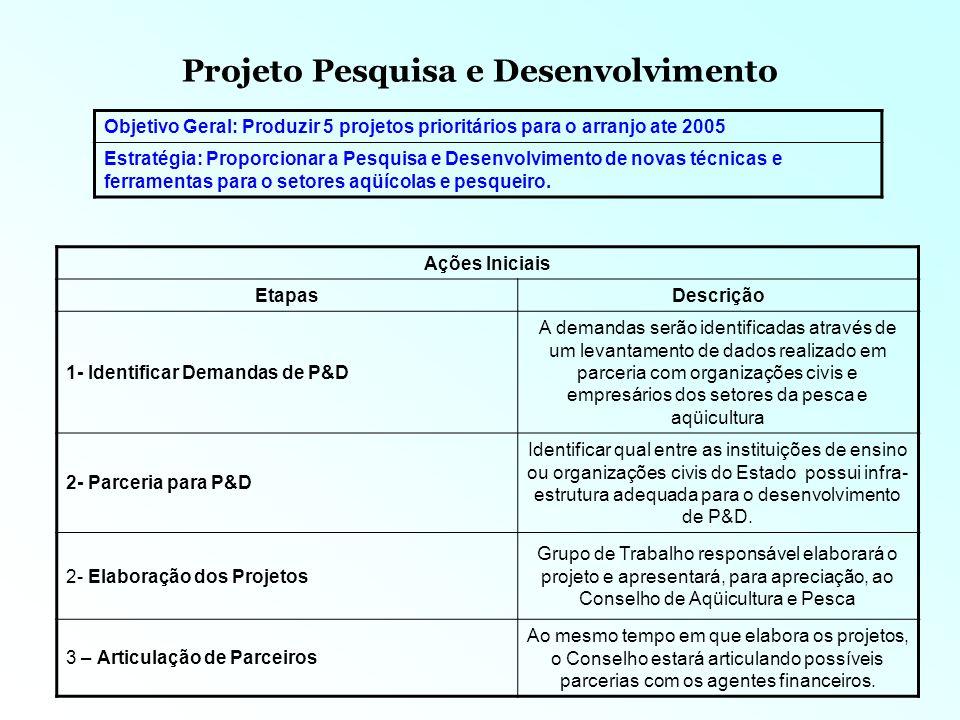 Projeto Pesquisa e Desenvolvimento Recursos NomeDescrição 1- Organizações Civis, empresários e outros atores dos arranjos Participação fundamental na identificação das demandas dos projetos.