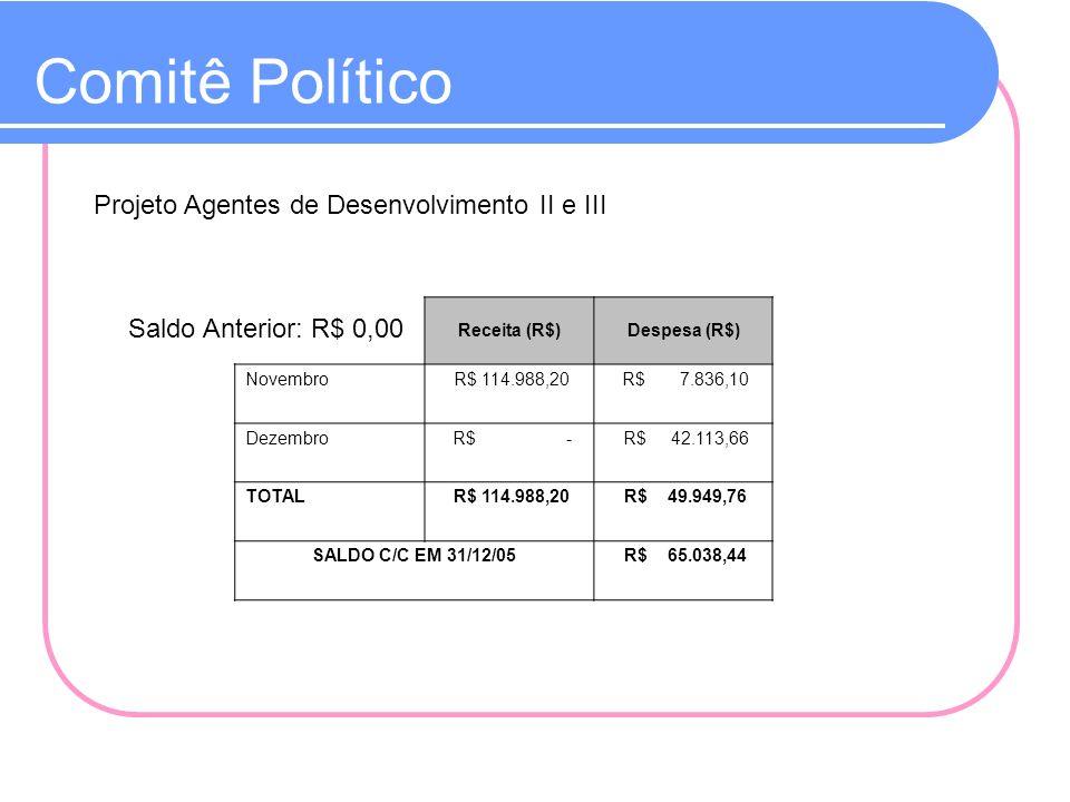 Comitê Político Projeto Agentes de Desenvolvimento II e III Saldo Anterior: R$ 0,00 Receita (R$)Despesa (R$) Novembro R$ 114.988,20 R$ 7.836,10 Dezemb