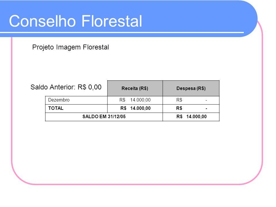Conselho Florestal Projeto Imagem Florestal Saldo Anterior: R$ 0,00 Receita (R$)Despesa (R$) DezembroR$ 14.000,00 R$ - TOTAL R$ 14.000,00 R$ - SALDO E