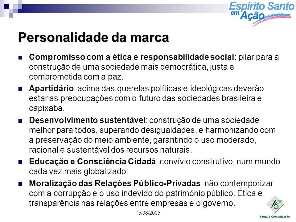 15/08/2005 Personalidade da marca Compromisso com a ética e responsabilidade social: pilar para a construção de uma sociedade mais democrática, justa