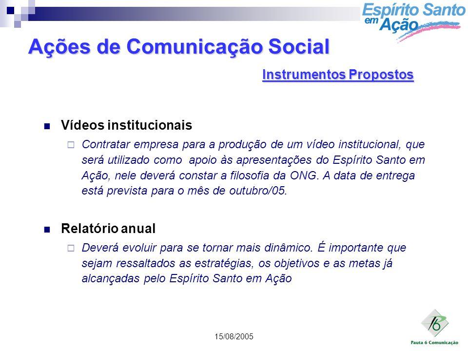 15/08/2005 Vídeos institucionais Contratar empresa para a produção de um vídeo institucional, que será utilizado como apoio às apresentações do Espíri