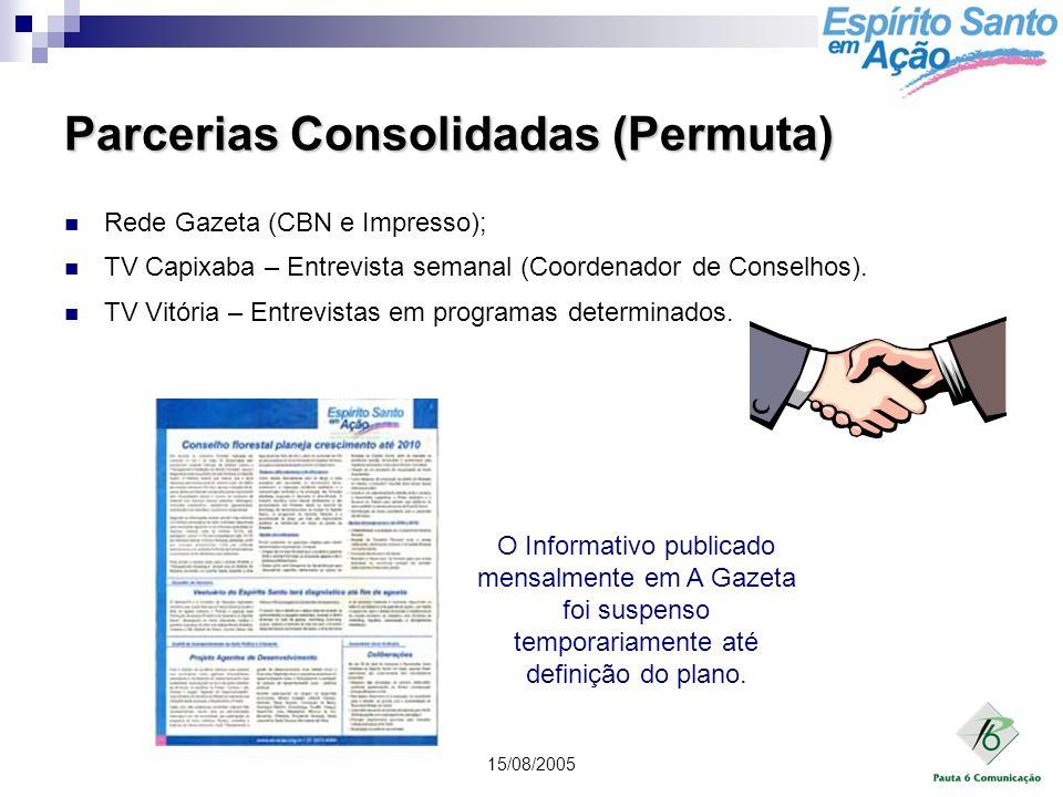 15/08/2005 Parcerias Consolidadas (Permuta) Rede Gazeta (CBN e Impresso); TV Capixaba – Entrevista semanal (Coordenador de Conselhos). TV Vitória – En