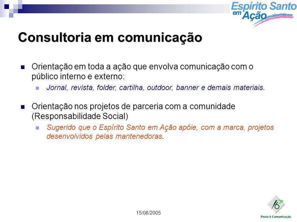 15/08/2005 Consultoria em comunicação Orientação em toda a ação que envolva comunicação com o público interno e externo: Jornal, revista, folder, cart