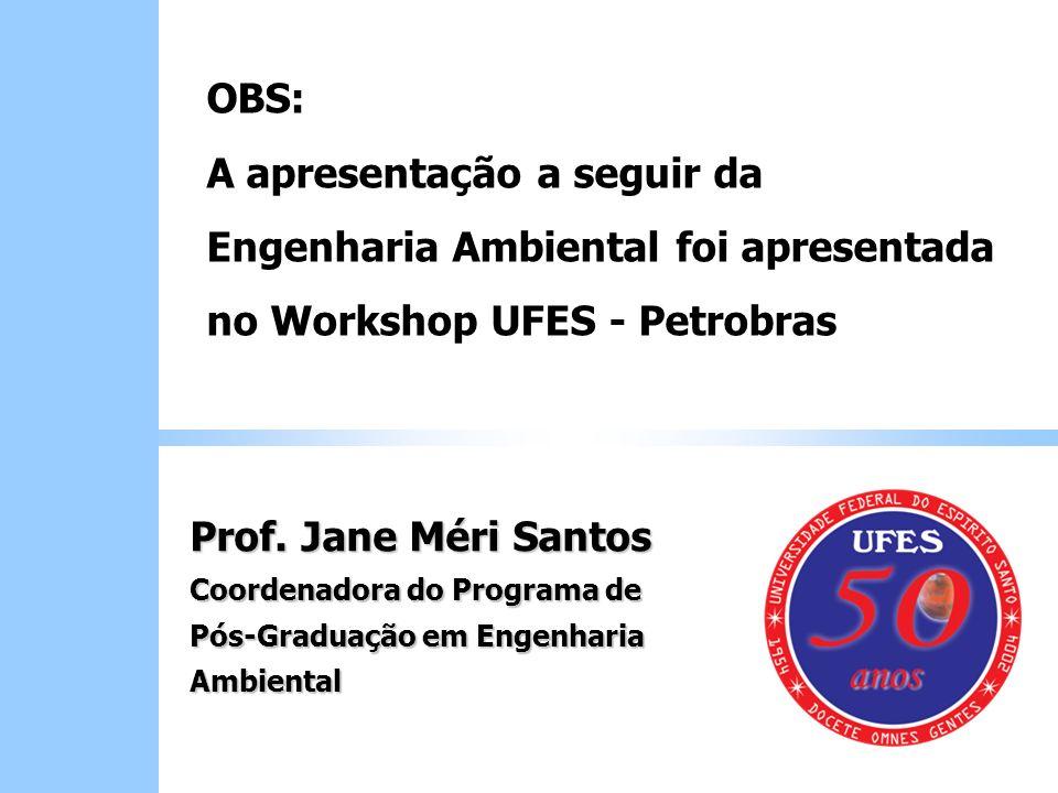 Prof. Jane Méri Santos Coordenadora do Programa de Pós-Graduação em Engenharia Ambiental OBS: A apresentação a seguir da Engenharia Ambiental foi apre