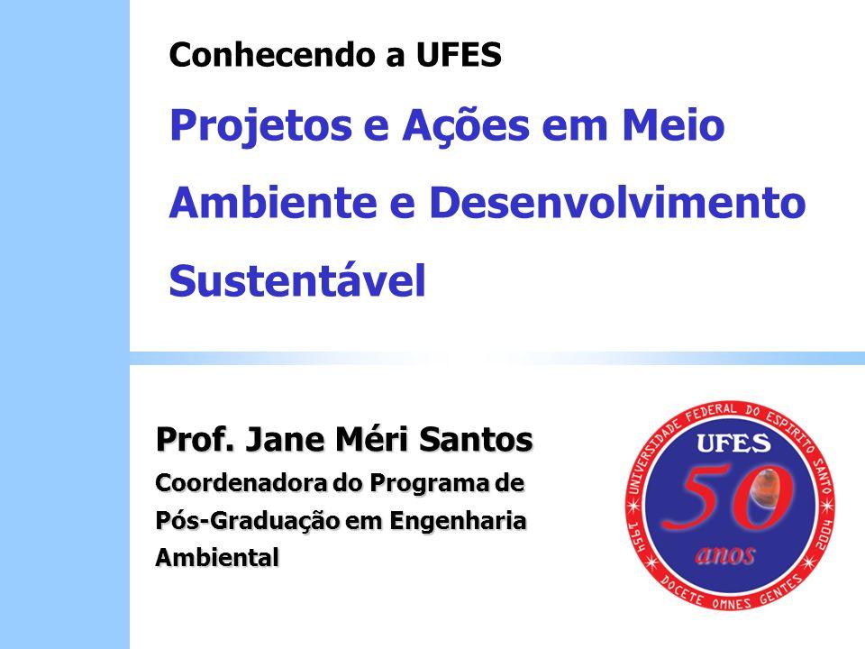 Prof. Jane Méri Santos Coordenadora do Programa de Pós-Graduação em Engenharia Ambiental Conhecendo a UFES Projetos e Ações em Meio Ambiente e Desenvo