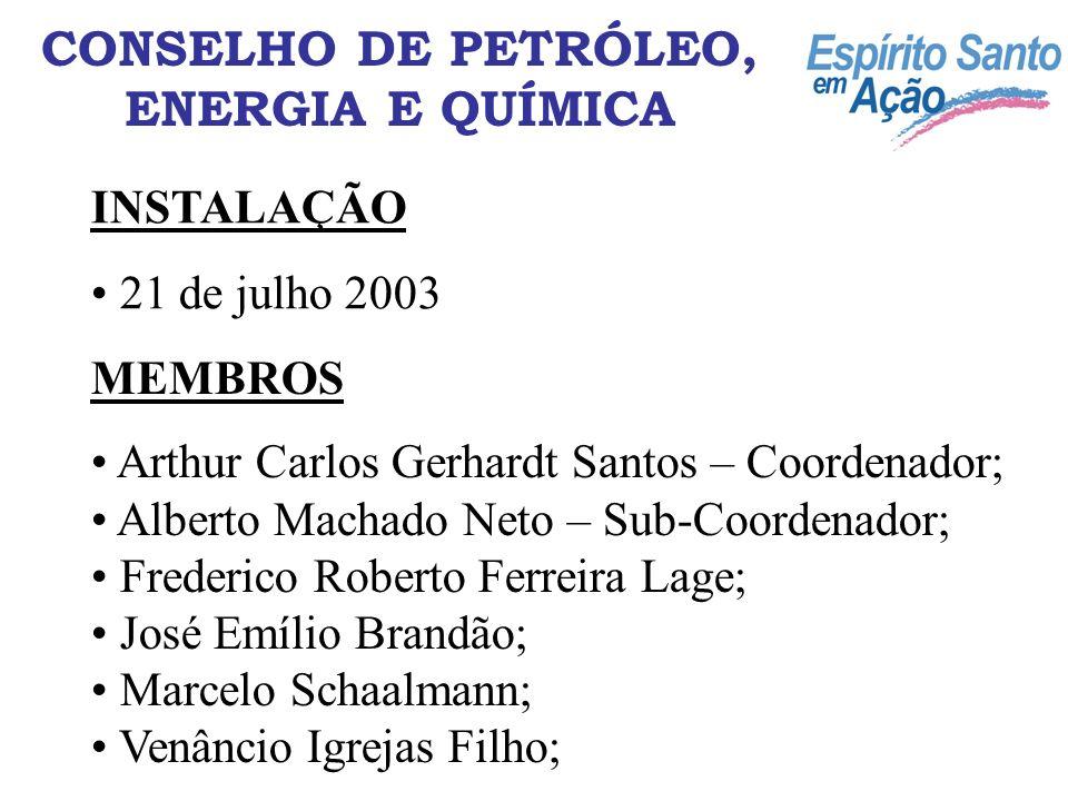 CONSELHO DE PETRÓLEO, ENERGIA E QUÍMICA INSTALAÇÃO 21 de julho 2003 MEMBROS Arthur Carlos Gerhardt Santos – Coordenador; Alberto Machado Neto – Sub-Co