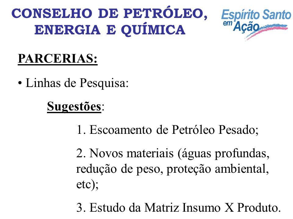 Linhas de Pesquisa: Sugestões: 1. Escoamento de Petróleo Pesado; 2. Novos materiais (águas profundas, redução de peso, proteção ambiental, etc); 3. Es