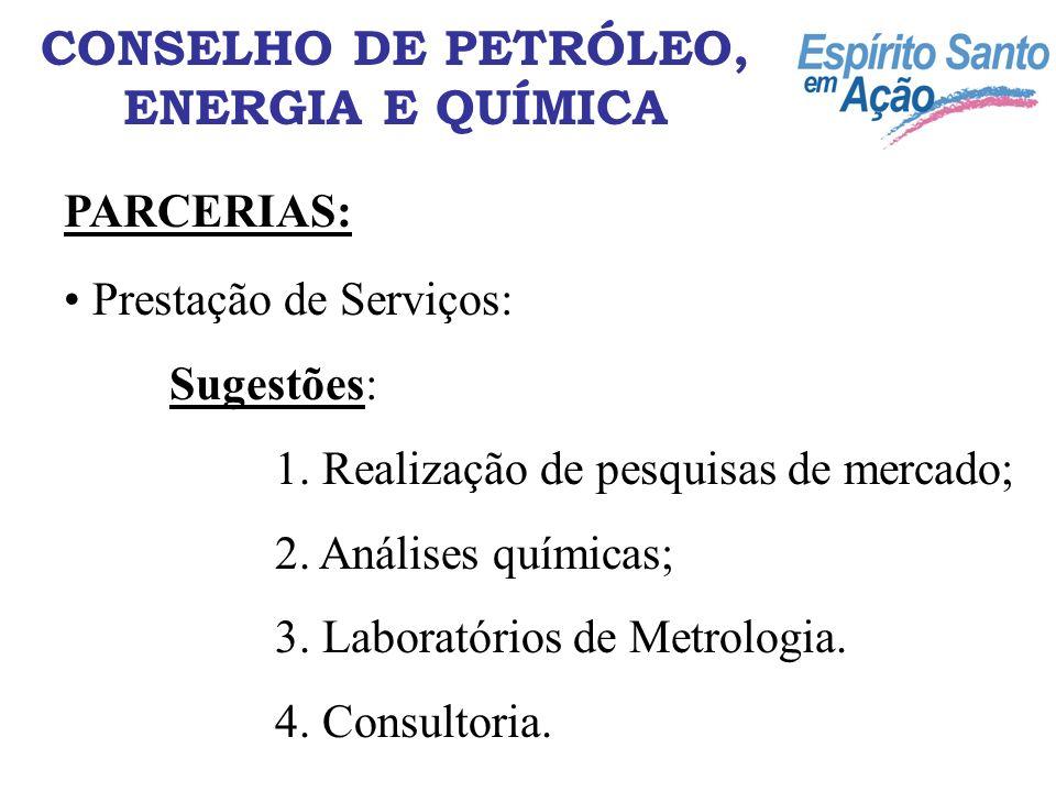 Prestação de Serviços: Sugestões: 1. Realização de pesquisas de mercado; 2. Análises químicas; 3. Laboratórios de Metrologia. 4. Consultoria. CONSELHO