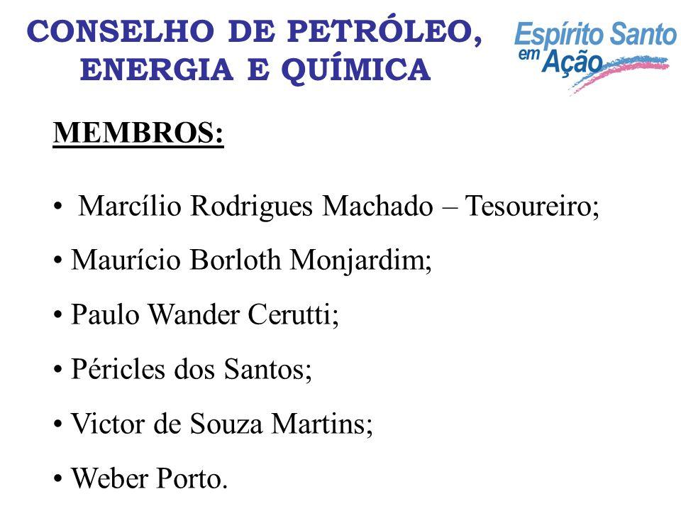 MEMBROS: Marcílio Rodrigues Machado – Tesoureiro; Maurício Borloth Monjardim; Paulo Wander Cerutti; Péricles dos Santos; Victor de Souza Martins; Webe