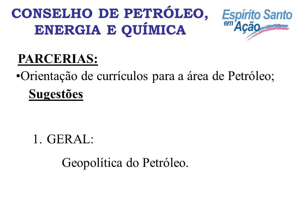CONSELHO DE PETRÓLEO, ENERGIA E QUÍMICA PARCERIAS: Orientação de currículos para a área de Petróleo; Sugestões 1. GERAL: Geopolítica do Petróleo.