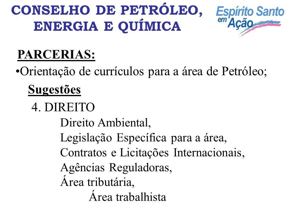CONSELHO DE PETRÓLEO, ENERGIA E QUÍMICA PARCERIAS: Orientação de currículos para a área de Petróleo; Sugestões 4. DIREITO Direito Ambiental, Legislaçã
