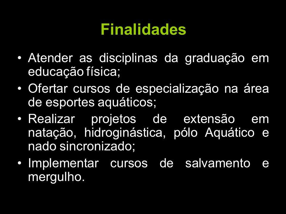 Finalidades Atender as disciplinas da graduação em educação física; Ofertar cursos de especialização na área de esportes aquáticos; Realizar projetos