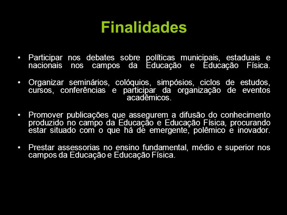 Finalidades Realizar pesquisas sobre problemas relevantes na Participar nos debates sobre políticas municipais, estaduais e nacionais nos campos da Ed