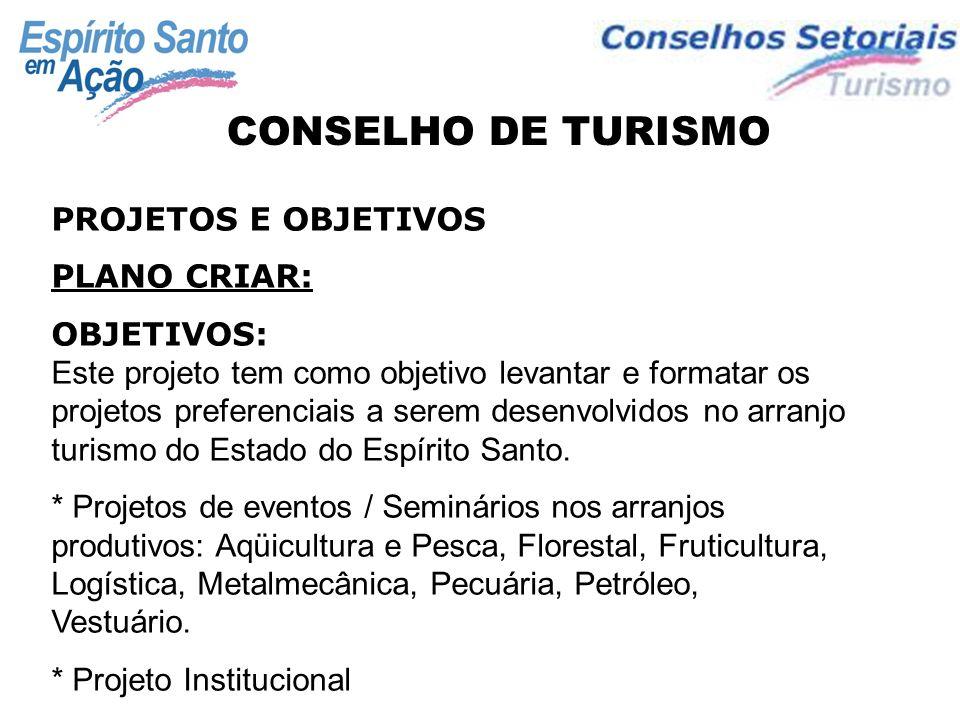 PLANO CONSOLIDAR: OBJETIVOS: Este plano tem como objetivo levantar e formatar os projetos preferenciais já existentes no arranjo turismo do Estado do Espírito Santo.