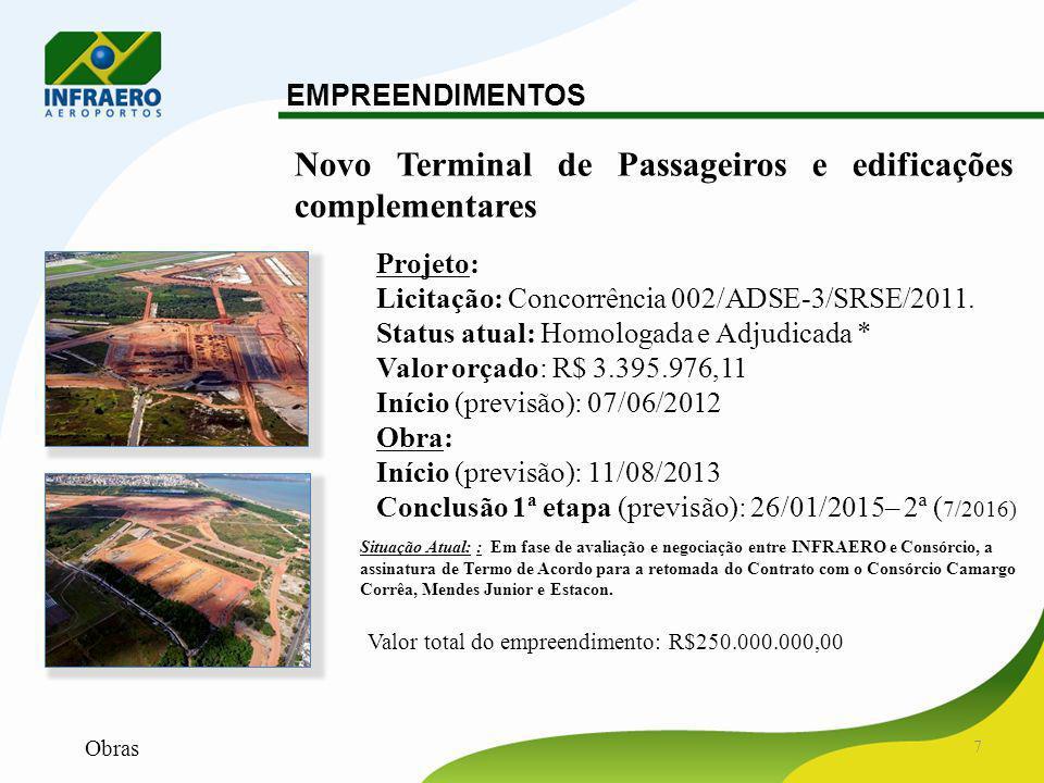 8 EMPREENDIMENTOS Pista 01/19, pátio de aeronaves, taxiways e vias de serviço Projeto: Contrato: TCTF006-EG/2010/0001 Status atual: Em elaboração Valor estimado : R$9.204.637,80 Início: 24/09/2011 Conclusão (previsão): 08/2012 Obra: Valor estimado (DEC): R$250.000.000,00 Início (previsão): 12/2012 Conclusão (previsão): 05/2014 (Pátio) 05/2014 (Pista)