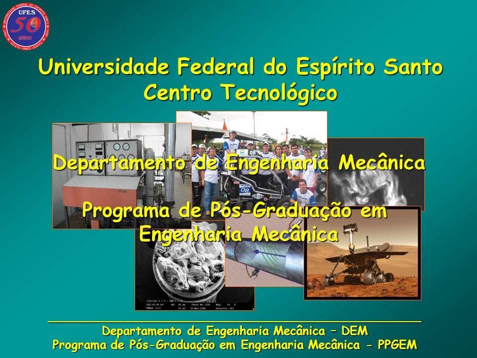 __________________________________________________ Departamento de Engenharia Mecânica – DEM Programa de Pós-Graduação em Engenharia Mecânica - PPGEM Quadro de professores: - Efetivos:20 - Visitantes: 2 - Substitutos: 8 _________________ - Total:30 (professores atuantes no PPGEM: 13) (professores atuantes no PPGEM: 13)