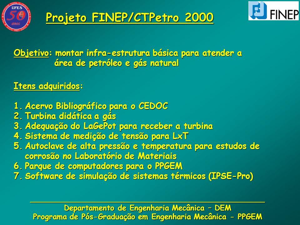 __________________________________________________ Departamento de Engenharia Mecânica – DEM Programa de Pós-Graduação em Engenharia Mecânica - PPGEM Projeto ANP/PRH-29 de 2000 Projeto ANP/PRH-29 de 2000 Objetivo: Formar mão-de-obra qualificada de graduados e pós-graduados para a indústria do gás natural pós-graduados para a indústria do gás natural Recursos envolvidos: - Bolsas de iniciação científica - Bolsas de mestrado - Taxas de bancada Linhas de pesquisa oferecidas à ANP: - Engenharia de dutos (estrutural) - Energia - Corrosão