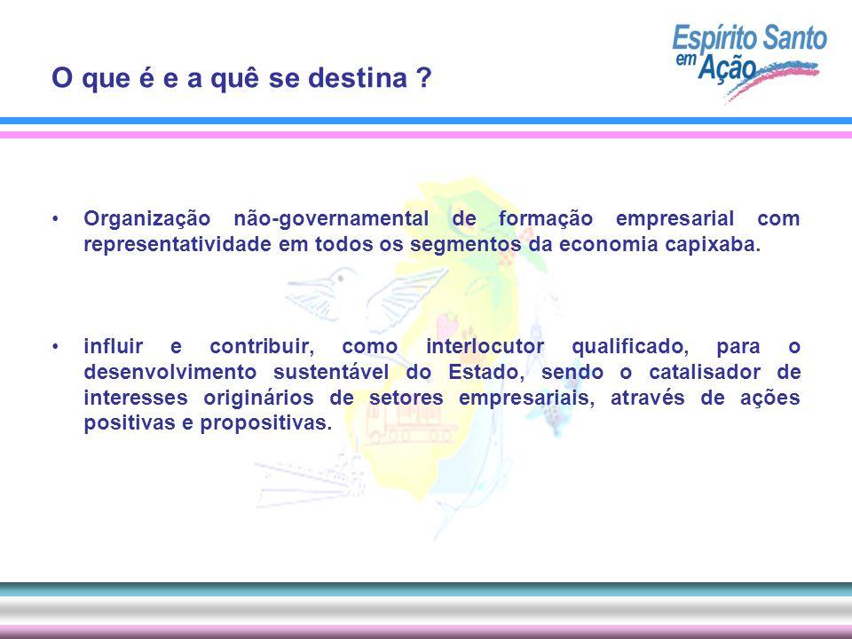 Organização não-governamental de formação empresarial com representatividade em todos os segmentos da economia capixaba. influir e contribuir, como in