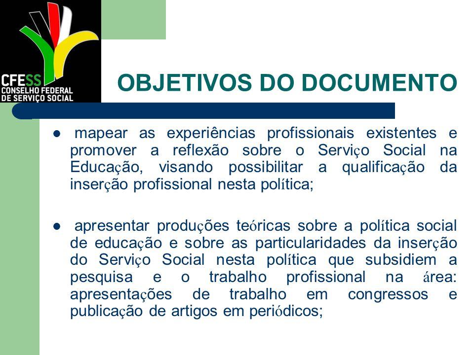 OBJETIVOS DO DOCUMENTO mapear as experiências profissionais existentes e promover a reflexão sobre o Servi ç o Social na Educa ç ão, visando possibili