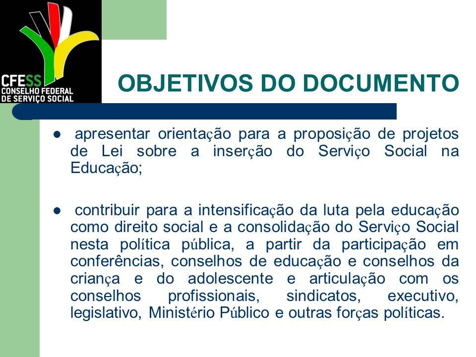 OBJETIVOS DO DOCUMENTO apresentar orienta ç ão para a proposi ç ão de projetos de Lei sobre a inser ç ão do Servi ç o Social na Educa ç ão; contribuir