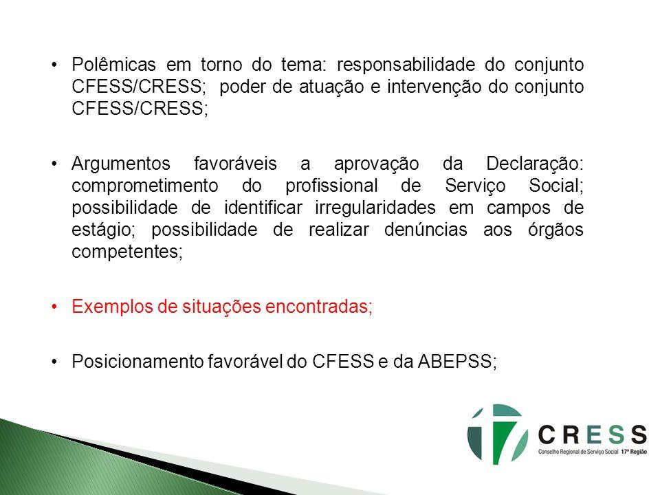 Polêmicas em torno do tema: responsabilidade do conjunto CFESS/CRESS; poder de atuação e intervenção do conjunto CFESS/CRESS; Argumentos favoráveis a