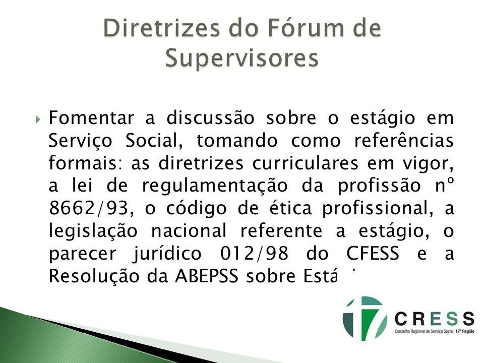 Fomentar a discussão sobre o estágio em Serviço Social, tomando como referências formais: as diretrizes curriculares em vigor, a lei de regulamentação