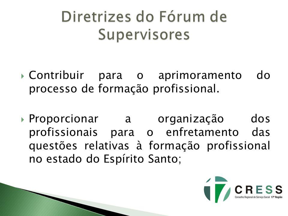 Contribuir para o aprimoramento do processo de formação profissional. Proporcionar a organização dos profissionais para o enfretamento das questões re