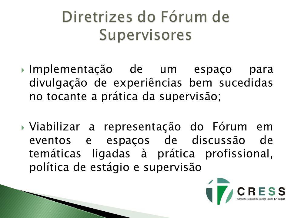 Implementação de um espaço para divulgação de experiências bem sucedidas no tocante a prática da supervisão; Viabilizar a representação do Fórum em ev