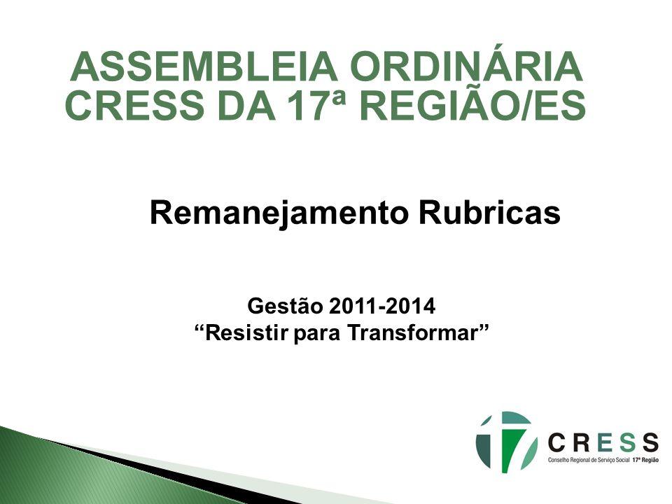 ASSEMBLEIA ORDINÁRIA CRESS DA 17ª REGIÃO/ES Remanejamento Rubricas Gestão 2011-2014 Resistir para Transformar