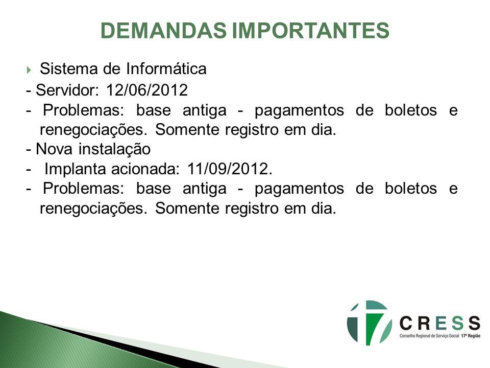 DEMANDAS IMPORTANTES Sistema de Informática - Servidor: 12/06/2012 - Problemas: base antiga - pagamentos de boletos e renegociações.
