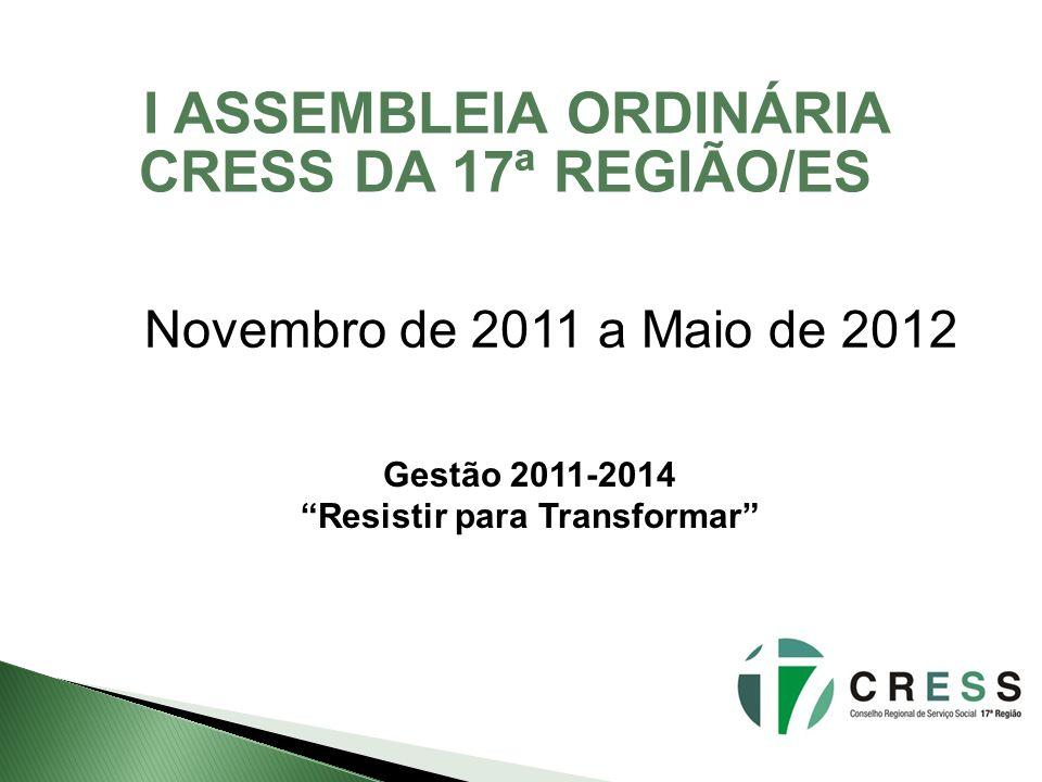I ASSEMBLEIA ORDINÁRIA CRESS DA 17ª REGIÃO/ES Novembro de 2011 a Maio de 2012 Gestão 2011-2014 Resistir para Transformar
