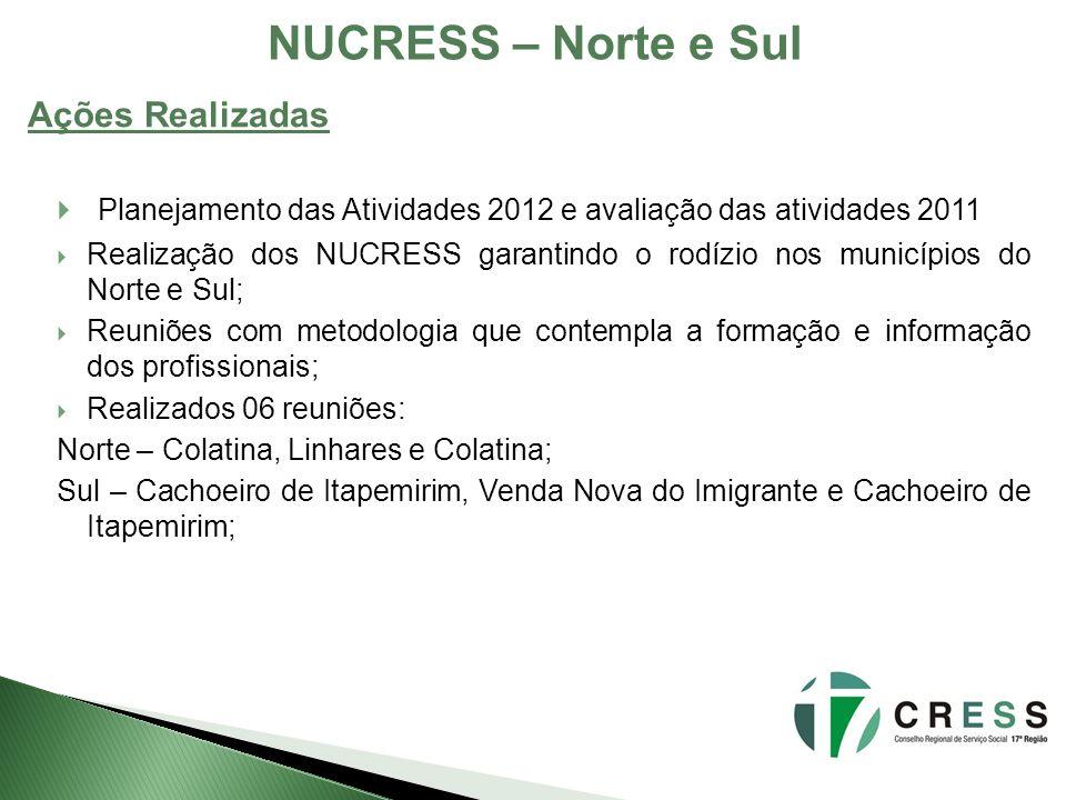 NUCRESS – Norte e Sul Planejamento das Atividades 2012 e avaliação das atividades 2011 Realização dos NUCRESS garantindo o rodízio nos municípios do N