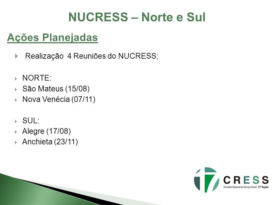 NUCRESS – Norte e Sul Ações Planejadas Realização 4 Reuniões do NUCRESS; NORTE: São Mateus (15/08) Nova Venécia (07/11) SUL: Alegre (17/08) Anchieta (