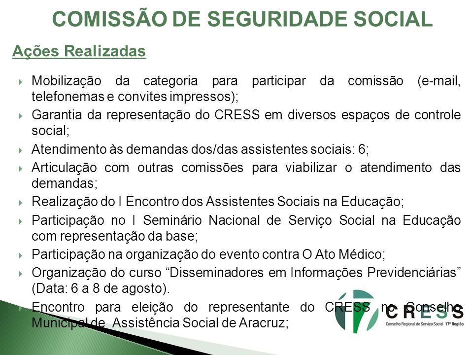 COMISSÃO DE SEGURIDADE SOCIAL Mobilização da categoria para participar da comissão (e-mail, telefonemas e convites impressos); Garantia da representaç