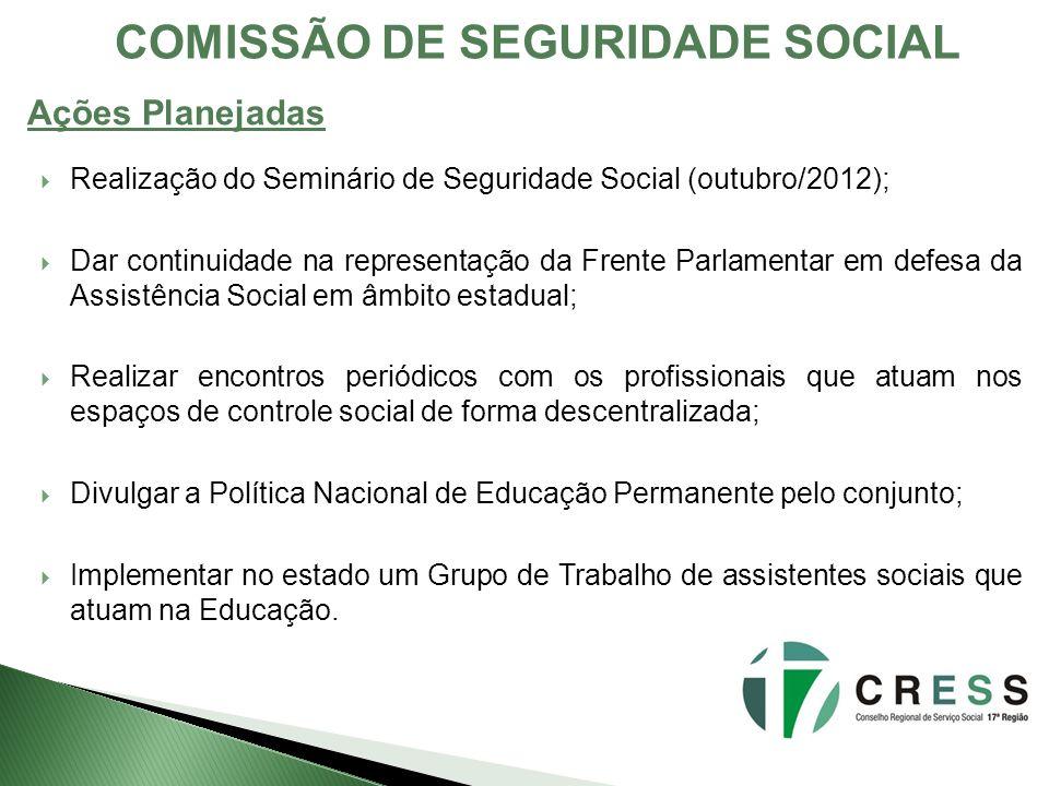 COMISSÃO DE SEGURIDADE SOCIAL Realização do Seminário de Seguridade Social (outubro/2012); Dar continuidade na representação da Frente Parlamentar em