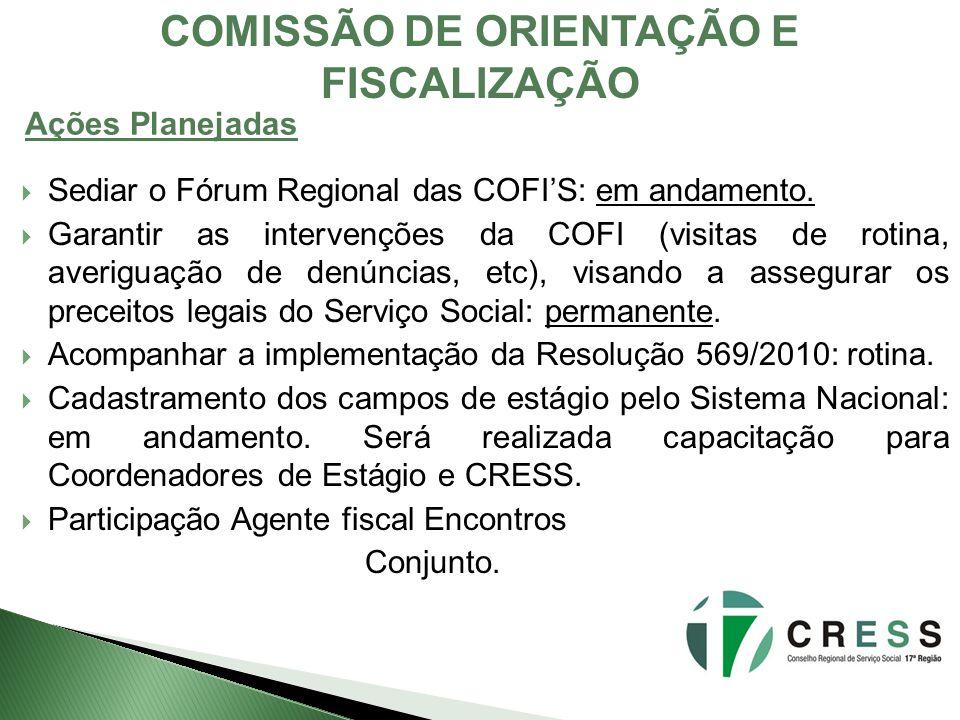 Sediar o Fórum Regional das COFIS: em andamento. Garantir as intervenções da COFI (visitas de rotina, averiguação de denúncias, etc), visando a assegu