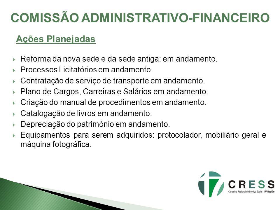 COMISSÃO ADMINISTRATIVO-FINANCEIRO Reforma da nova sede e da sede antiga: em andamento. Processos Licitatórios em andamento. Contratação de serviço de