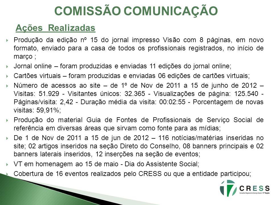 COMISSÃO COMUNICAÇÃO Produção da edição nº 15 do jornal impresso Visão com 8 páginas, em novo formato, enviado para a casa de todos os profissionais r