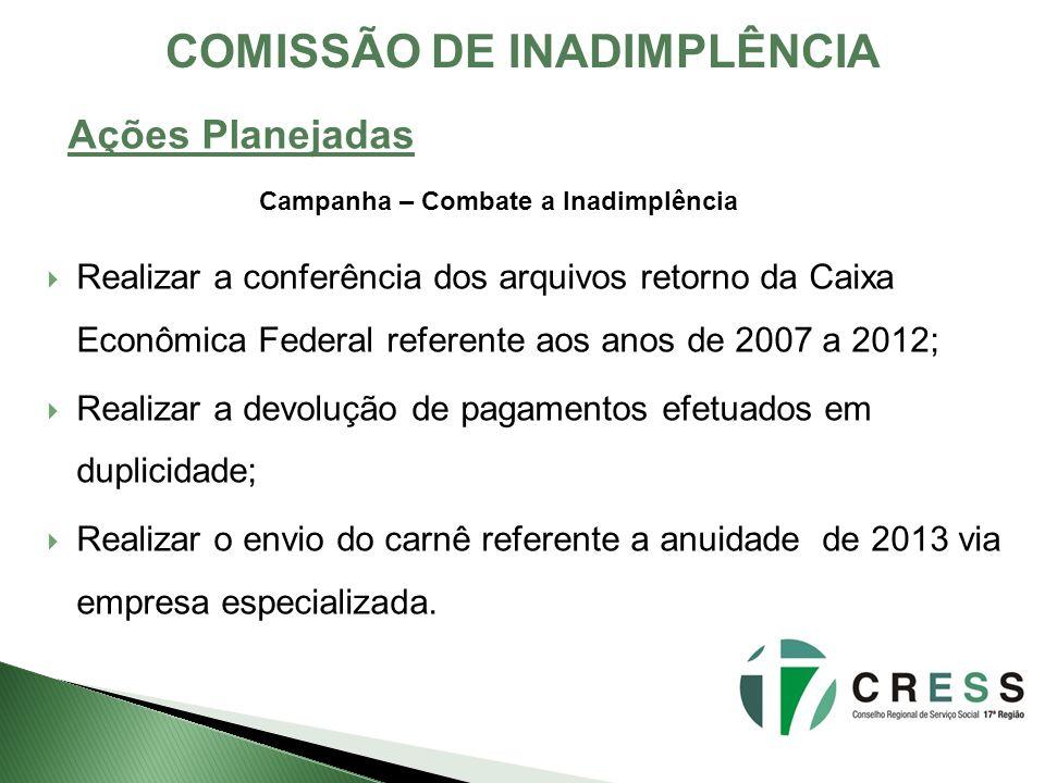 Realizar a conferência dos arquivos retorno da Caixa Econômica Federal referente aos anos de 2007 a 2012; Realizar a devolução de pagamentos efetuados